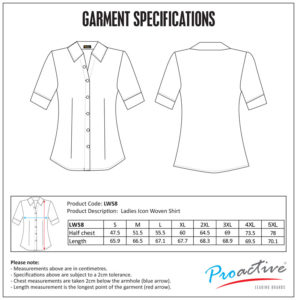 Icon Ladies Woven Shirt size chart