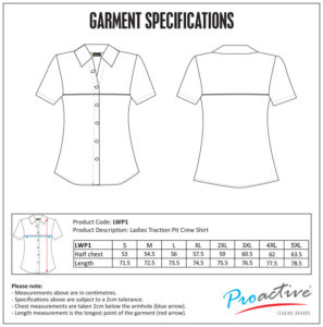 Traction Ladies Pit Crew Shirt (LWP1) size chart